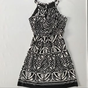 Dynamite high neck dress with geometric pattern